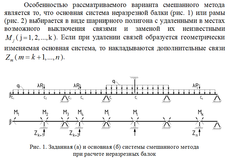 Zadannaya_i_osnovnaya_sistemy_smeshannogo_metoda_pri_raschete_nerazreznyx_balok