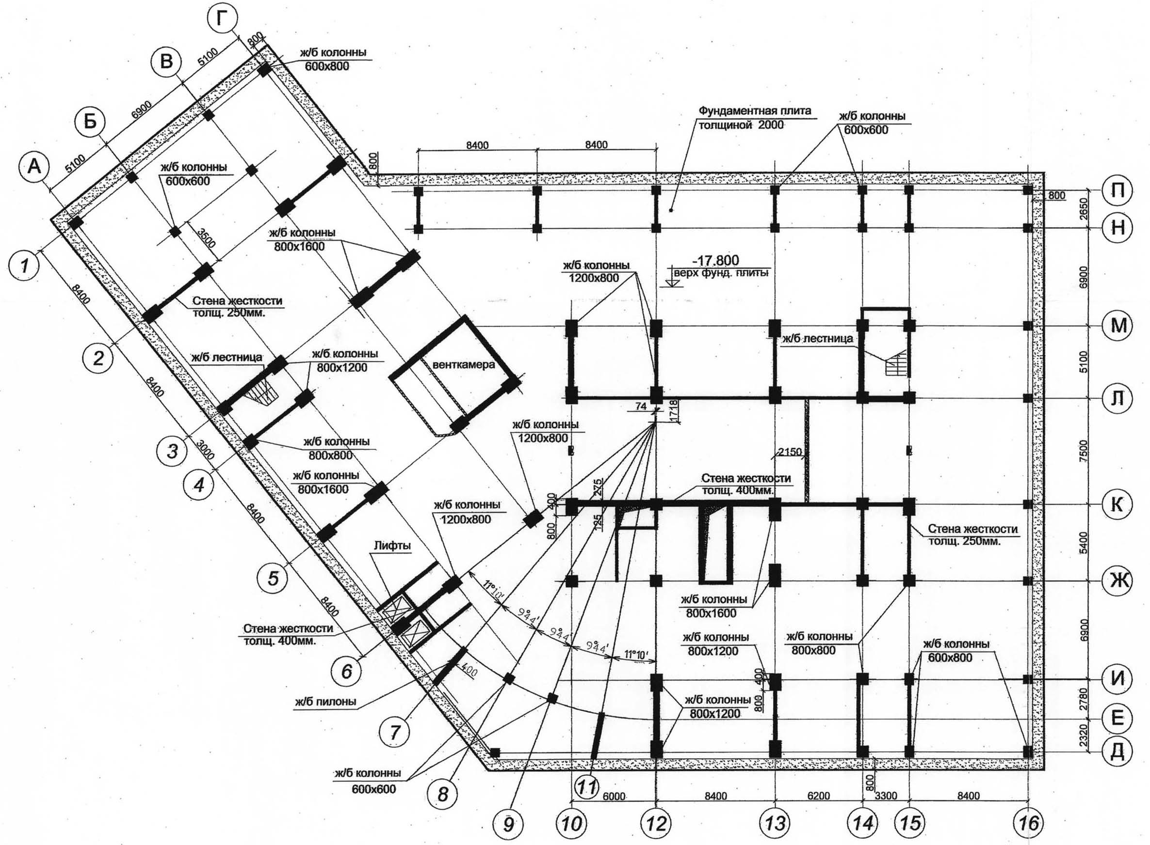 Plan_konstrukcij_minus_pyatogo_etazha_vysotnogo_zdaniya