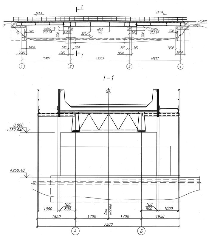 Fasad_i_poperechnyj_razrez_zaproektirovannogo_mosta